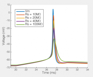 The effect of series resistance on action potentials recorded via a 5pF pipette and an amplifier with 5GΩ input resistance.