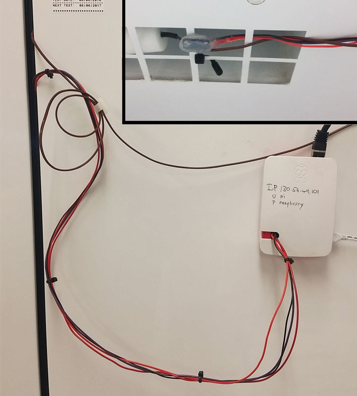 Raspberry Pi mounted on the outside of the freezer. Inset: Silicon coated MCP9808 inside the freezer.