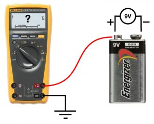 Fig 1. What voltage does the multimeter record?